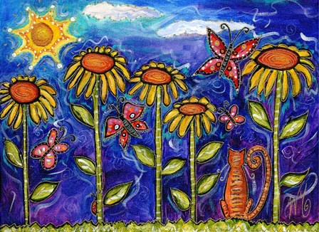 Sundown Sunflowers by Wyanne art print