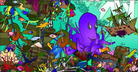 Underwater Octopus by Howie Green art print