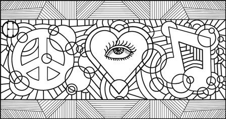 Peace Love Music Horiz by Howie Green art print