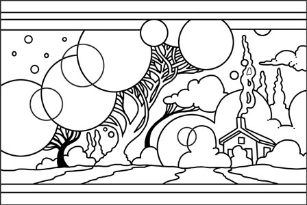 Circle Tree Landscape Lineart by Howie Green art print