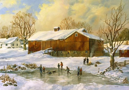 Skating on the Pond by Jack Wemp art print