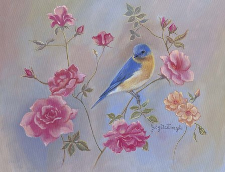 Blue Bird In Roses by Judy Mastrangelo art print