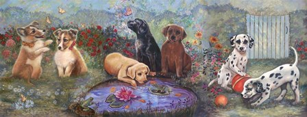 Puppies And Pond by Judy Mastrangelo art print