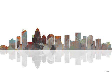 Charlotte NC Skyline BW 1 by Marlene Watson art print