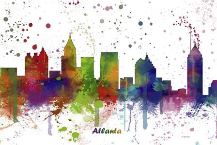 Atlanta Georgia skyline Multi Colored 1 by Marlene Watson art print