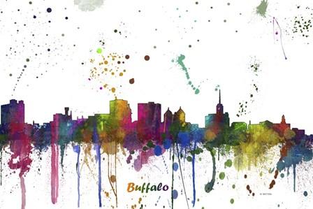 Buffalo New York Skyline Multi Colored 1 by Marlene Watson art print