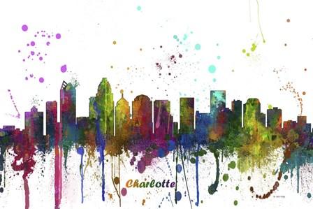 Charlotte NC Skyline Multi Colored 1 by Marlene Watson art print