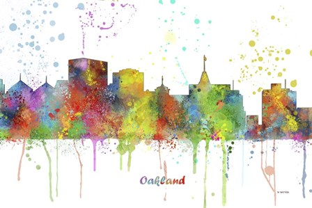 Oakland California Skyline Multi Colored 1 by Marlene Watson art print