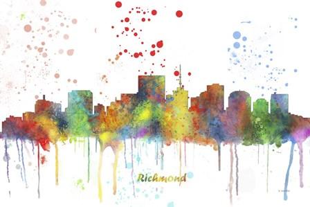 Richmond Virginia Skyline Multi Colored 1 by Marlene Watson art print