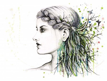 Forest Lover Girl Portrait by Michelle Faber art print