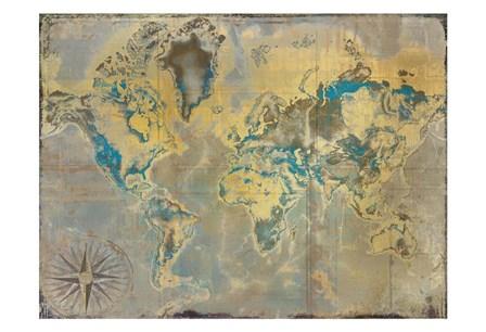 Golden Teal World Map by Kimberly Allen art print
