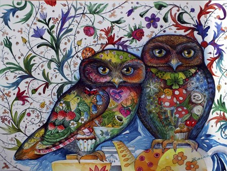 Middle Ages Owls by Oxana Zaika art print