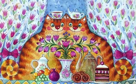 Tea Cats by Oxana Zaika art print