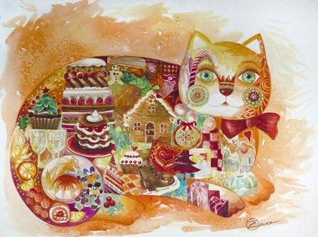 Christmas Cat by Oxana Zaika art print