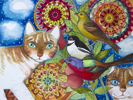 Mandala Cats by Oxana Zaika art print