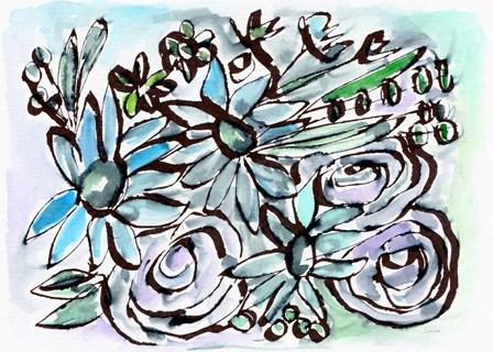 Beach Glass Flowers II by Linda Woods art print