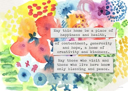 Jewish Home Blessing Floral by Linda Woods art print