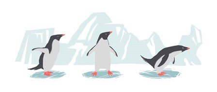 Minimalist Penguin Trio, Boys by Color Me Happy art print