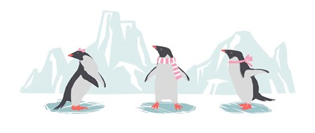 Minimalist Penguin Trio, Girls by Color Me Happy art print
