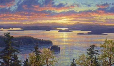 Sunset Over The San Juan Islands by Randy Van Beek art print