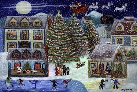 Christmas Eve Santa In House by Cheryl Bartley art print