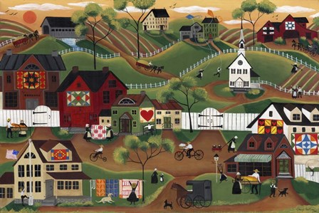 Amish Quilt Village by Cheryl Bartley art print