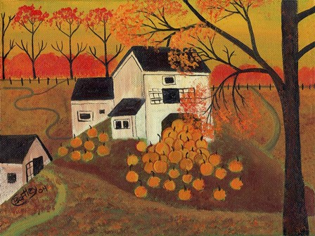 Pumpkin Barn Autumn Folk Art by Cheryl Bartley art print