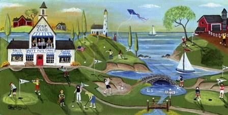 Golf Club Folk Art by Cheryl Bartley art print