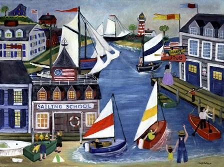 Sailing School Folk Art by Cheryl Bartley art print