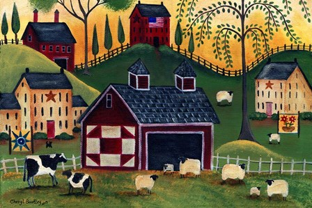 Sunrise Red Quilt Barn by Cheryl Bartley art print