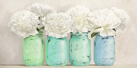 Peonies in Mason Jars (detail) by Jenny Thomlinson art print