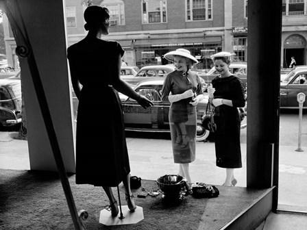 Women Looking at Window Display art print