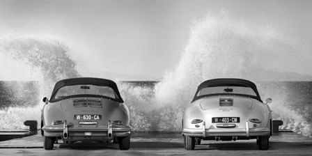 Ocean Waves Breaking on Vintage Beauties (BW) by Gasoline Images art print