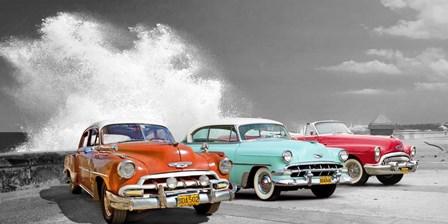 Cars in Avenida de Maceo, Havana, Cuba (BW) by Pangea Images art print