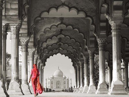 Woman in traditional Sari walking towards Taj Mahal (BW) by Pangea Images art print