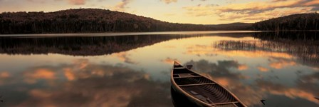 Water And Boat, Maine, New Hampshire Border by Panoramic Images art print