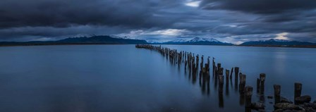 Snowcapped Mountain and Lake at Dusk, Patagonia, Chile by Panoramic Images art print