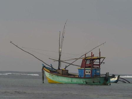 Fishing Boat at Anchor, Matara, Southern Province, Sri Lanka by Panoramic Images art print