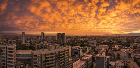 Cityscape at Sunset, Santiago, Chile by Panoramic Images art print