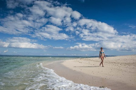 Woman walking on white sand beach of Beachcomber Island, Mamanucas Islands, Fiji by Michael Runkel / DanitaDelimont art print