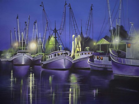 Purple Boats by Geno Peoples art print