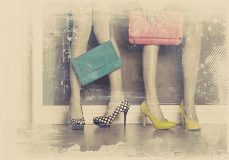 Vintage Fashion Pop of Color Heels and Handbags by Color Me Happy art print