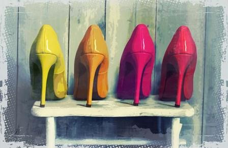 Vintage Fashion Colorful Heels by Color Me Happy art print