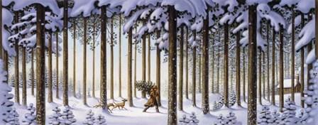 Winter Scene Man With Tree by Dan Craig art print