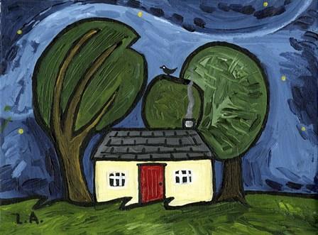 Cottage at Night by Cherry Pie Studios art print
