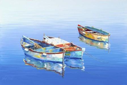 3 Boats Blue 1 by Edward Park art print