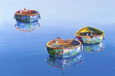 3 Boats Blue 2 by Edward Park art print