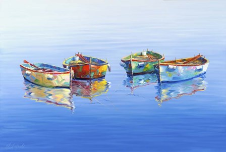 4 Boats Blue by Edward Park art print
