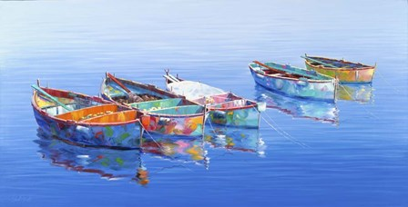 5 Boats Blue by Edward Park art print