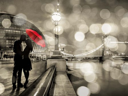 Kissing in London (detail, BW) by Dianne Loumer art print
